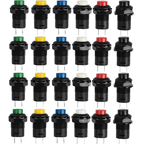AMACOAM Drucktaster 12mm Mini Momentary Push Button Schalter Druckschalter ON-OFF Druckknopf Selbsthemmender Schalter Kunststoff für Auto Boot DIY, AC 250V/1.5A 125V/3A, 6 Farben 24 Stück