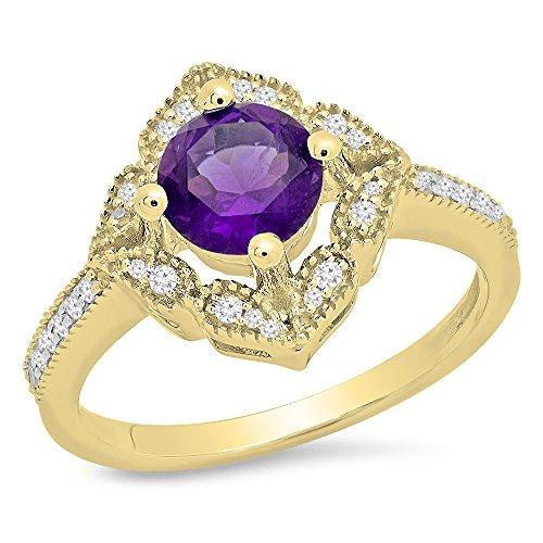Damen Ring 14 Karat Gelbgold Rund Echte Amethyst Und Diamant Damen Halo Vintage Verlobungsring