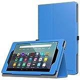 MoKo Funda Compatible con Amazon Kindle Fire 7 Tablet (9th Generation - 2019 Release), Ultra Slim Función de Soporte Plegable Smart Cover Stand Case - Azul