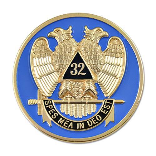 32nd Degree Scottish Rite Round Masonic Auto Emblem - [Gold & Blue][3'' Diameter]