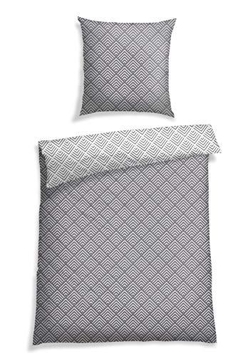 Schiesser Bettwäsche Renforcé,Pure Elegance', Farbe:grau-weiß Gemustert, Größe:155 cm x 220 cm