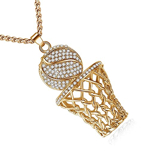 ASFSD Collar con colgante de baloncesto de oro para hombre, acero de titanio 316L, antialérgico, Hip Hop con diamantes de imitación para amantes del baloncesto de la NBA