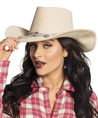 costumebakery - Kostüm Accessoires Zubehör Damen Cowboyhut Wilder Western Hut, Lady Cowboy Hat, perfekt für Karneval, Fasching und Fastnacht, Creme