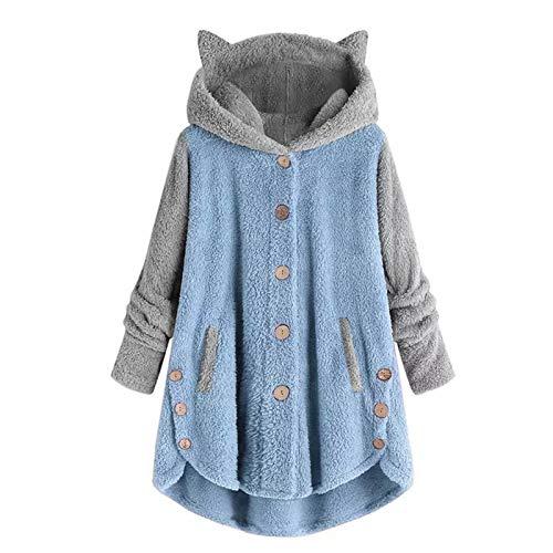 Otoño e invierno de las mujeres de las mujeres botón europeo y americano orejas de gato con capucha top de felpa marca de marea irregular chaqueta a juego de color calor de invierno de las mujeres