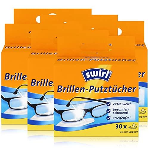Swirl Brillen-Putztücher 30 einzeln verpackte Tücher in Spenderbox - Anti-Beschlag-Effekt - Extra weich und schonend - Fettlösend - Streifenfrei (6er Pack)