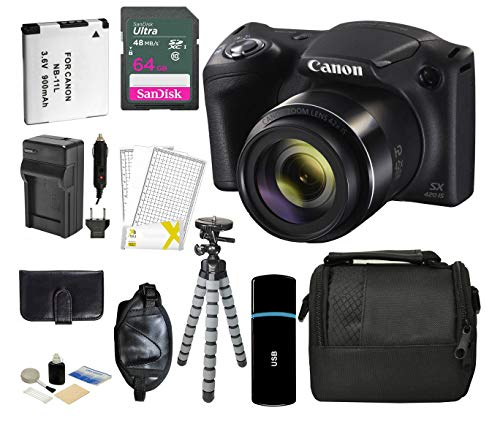 Canon PowerShot SX420 is WiFi & NFC Capability 42X Optical Zoom 720p HD Video Digital Camera Bundle 64GB Memory Card Wallet Gripster Tripod Card Reader Camera Bag Extra Battery Wrist Strap USB Reader
