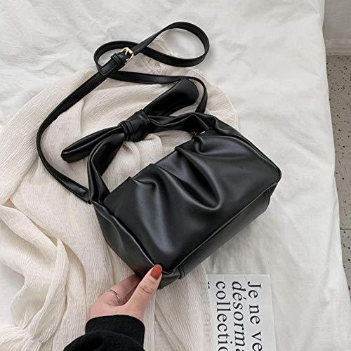 PANZZ Sacs fourre-Tout Femmes Sacs à Main Couleur Unie Sac bandoulière bandoulière d'été Lady Bag, Noir, 21cmx13cmx11cm