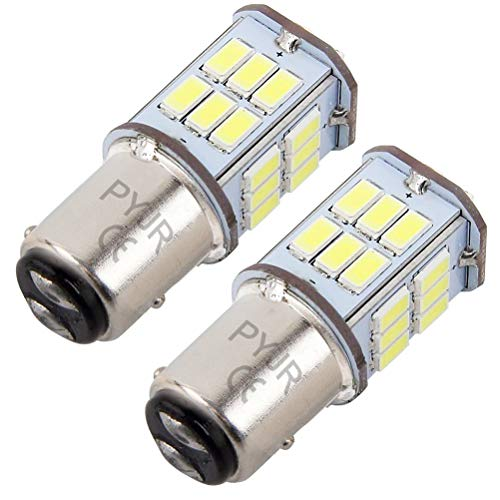 P21/5w 1157 Bay15d bombilla led de freno, PYJR 5W DC10-30V Voltaje ancho Luz blanca 6000K, para RV, automóvil, motocicleta, 2 unidades