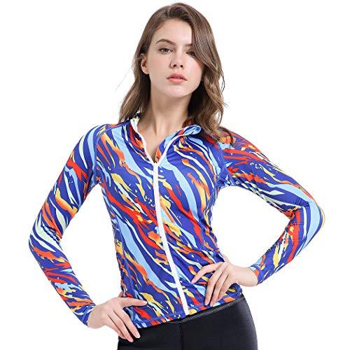 Women Girls UV Protection Rash Guard Swimsuit Top Long Sleeve Zip Front Printed Swim Shirts (Orange, S)