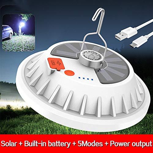 MODOAO Luces portátiles para Acampar Luz de Carpa para Exteriores Luces de Linterna Solar 5 Modos, lámpara LED Ultra Brillante Recargable USB con Salida de Banco de energía campamentos o mochileros