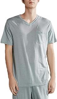 qianqianq Men's Cotton Lounge Summer Striped Sleepwears Shorts-&-Shirt Short-Sleeve Pajama Set