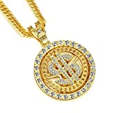 Costume Gold Chain for Men Rotatable Dollar Sign Necklaces 36 Inches (Style A)