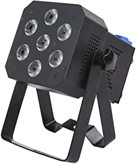 Monoprice Super-Bright PAR Stage Light (RGBAW-UV) | 12 watt, x 7 LED, Built-in Program abilities, Such as Fade, Strobe, Color Changing, and Sound Activation Modes - Stage Right Series