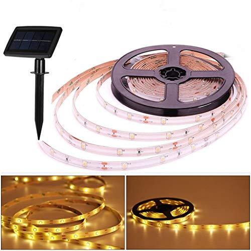 Solar LED Streifenlichter außen,5 m 150 LED Wasserdicht Leiste Lichtband,2 Modi,Flexibel und Schneidbar,Selbstklebend,für Fensterschränke Treppen Dachterrasse Gehweg Zaun Dekor (warmweiß)