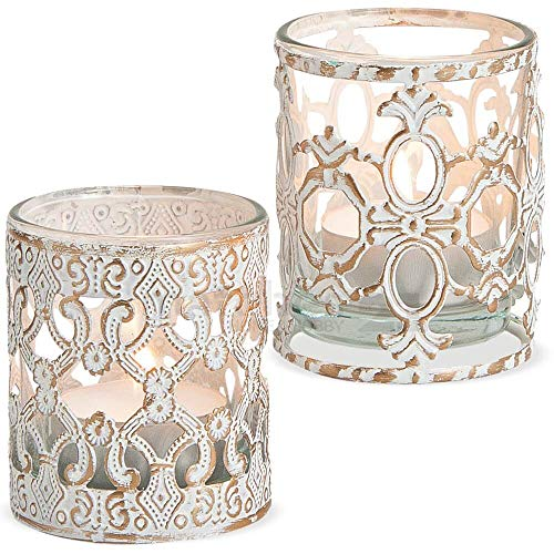 matches21 Teelichtgläser Kerzengläser Windlichter Glas & Metall Barock Ornamentmuster Vintage weiß 2er Set klein 7 cm