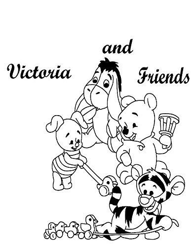 Sticker mural personnalisé pour chambre d'enfant Motif Winnie l'ourson et ses amis Porcinet Bourriquet et Tigrou (noir)