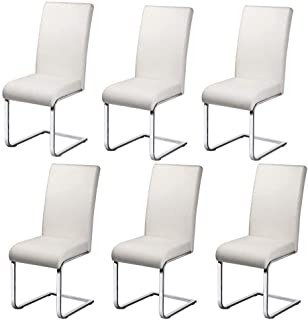 QIDI-Home Decoration Set of 6 Leather Dining Chair,with Bow Shape Iron Art Chrome Legs & High Back Kitchen Dining Room White Furniture (Color : White)