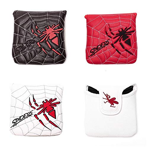 ヘッドカバー パターカバー マレット用 オデッセイ2ボール・テーラーメイド スパイダーパターに対応 スパイダー模様 白・黒・赤 (白)