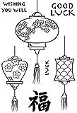 Woodware Clear Stempel Magic Japanische Laternen Set, Polymer, 21x 11x 0,6cm -