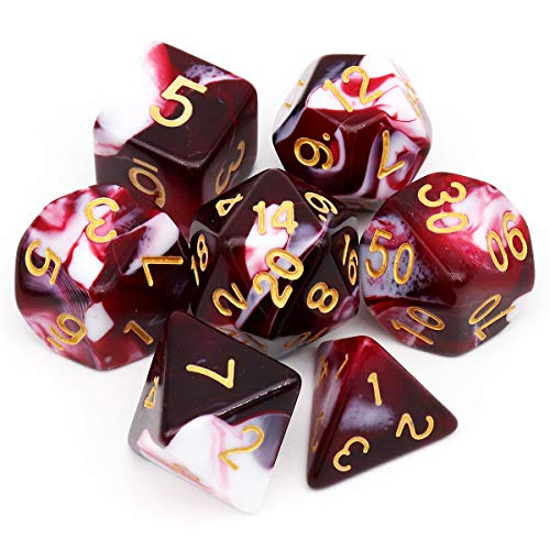 Haxtec Swirl DND Dice Set 7PCS Polyhedral D&D Dice for Roleplaying Dice Games as Dungeons and Dragons (Red White)