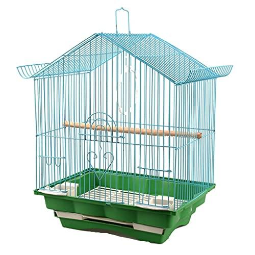 jaula De Pájaros para Periquitos Techo De Metal Doméstico Pequeño Pájaros Ornamental Casa Pequeña Pájaros para Exteriores (Color : Green, Size : 28 * 21 * 37cm)