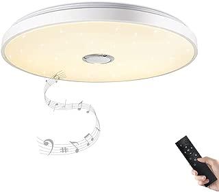 Lámpara de techo con altavoz Bluetooth y mando a distancia, 24 W, cambio de color, estrellas, regulable, blanco cálido y frío, 2800 – 6500 Kelvin (blanco)