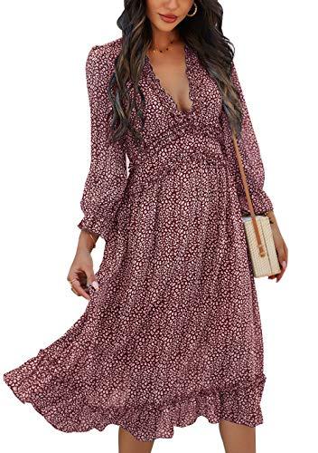 ZIYYOOHY Vestido largo de gasa con volantes para mujer, cuello en V, estampado floral, vestido de verano, vestido de cóctel, vestido de fiesta, vestido de playa 3016 Vino tinto S