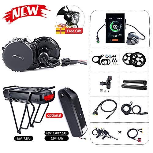 Bafang Kit vélo de Conversion de vélo BBS02B 48V 750W Mid-Engine de vélo ou mi-Moteur avec 48V 11.6/17.5Ah Hailong Batterie/Porte-Bagages Batterie
