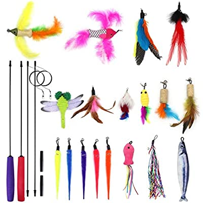 SLSON 20 Pack Cat Feather Interactive Toys Set 2PCS Cat Teaser Wands with 18PCS Teasers Toy Accessories with Bell For Cat and Kitten Catcher