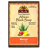 OKAY| African Black Soap Mango| Cleanses And Exfoliates Skin| Anti Inflammatory & Anti Bacterial| Nourishes Skin & Helps Heal Skin| Sulfate, Silicone, Paraben Free| For All Skin Types| Created In Ghana| Processed In USA| 5.5oz