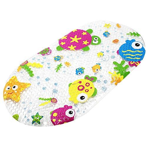 Topky, tappetino antiscivolo per vasca da bagno, tappetino da doccia per bambini, con ventose, motivo fumetto stampato per vasca da bagno, 39 x 69 cm (oceano colorato)