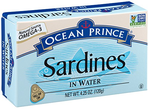 Ocean Prince Sardines in Water, 4.25-Ounce Cans (Pack of 12) (packaging may vary)
