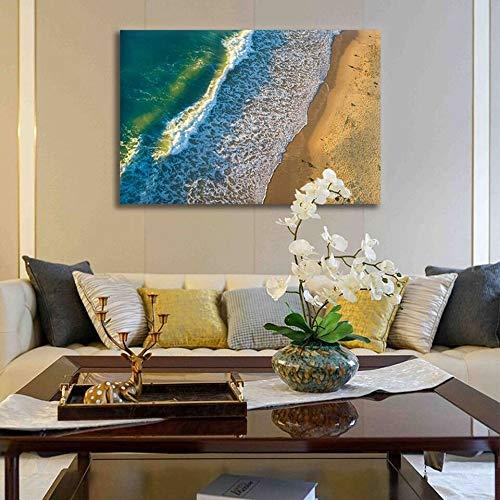 HCHD Pintura al óleo Pintura Marina Dormitorio Imprime 1 Pieza de la Ola oceánica del Arte del Cartel Pared Mares agitados Wave Rock Beach Imágenes de Lona de la decoración