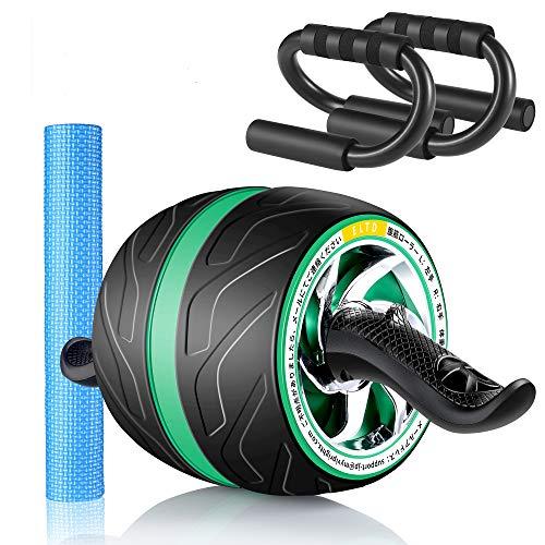 ELTD 腹筋ローラー アプローラー 筋トレローラー 自動リバウンド式 静音 取り付け簡単 滑りやめ 膝マットと腕立て台付き 高耐久性 緑
