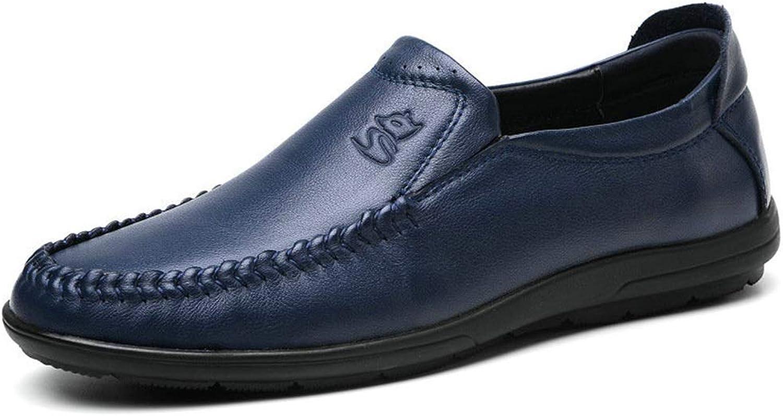 Fuxitoggo Große Größe weiche Sohle Schuhe für Männer Casual Echtes Leder Driving U-TIPP Loafers (Farbe   Blau, Größe   EU 41)    Vielfältiges neues Design