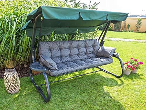 Gartenbankauflage Garten Bankauflage 150x56x49cm Bankkissen 2 Kissen Gratis Sitzkissen Polster Auflage Hollywoodschaukel Poli (Dunkelgrau)