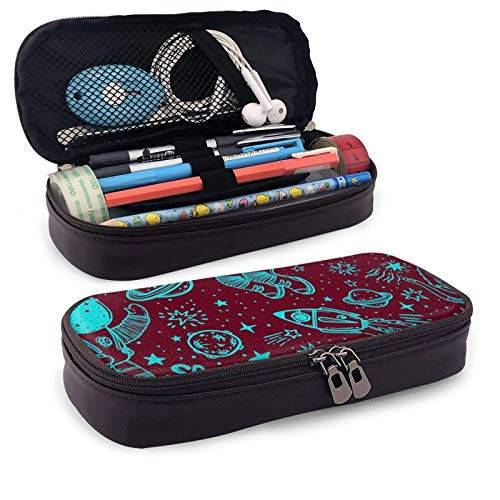XCNGG Kosmetiktasche mit Federmäppchen Astronaut Cat AlienLeather Pencil case, Waterproof, Fashionable and Durable, can be Used for Students, Schools, Offices, Colleges