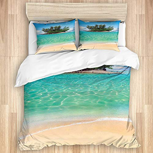 GOCHAN Washed Cotton Duvet Cover Set,Tropical Island Sandy Seaside Clear...