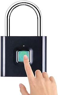 XCSOURCE 南京錠 指紋認証 タッチロック オフィス用ロッカー 指紋ロック セキュリティロック 快速認証 20枚指紋登録可能 小型 USB充電式 盗難防止 防水 防犯用 JPV051