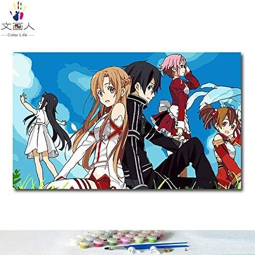 KYKDY DIY Farbgebung Bilder nach Zahlen mit Farben Schwert Art Online Alicization Anime Bild Zeichnung Malen nach Zahlen gerahmt Home, 5073,40x50 mit Rahmen