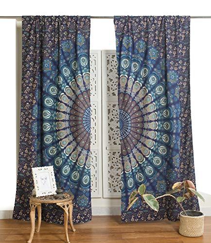 Popular Handicrafts Indian Hippie Bohemian Beautiful Peacock Mandala Curtain Panels Blue Tarquoise