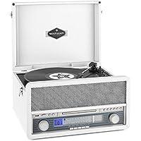 auna Belle Epoque 1907 - estéreo, Tocadiscos, máx. 78 RPM, Bluetooth, Radio, Receptor FM/Am, digitalización, Reproductor de CD, MP3, pletina de Cassette, Puerto USB, AUX, Blanco