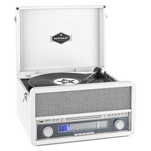 auna Belle Epoque 1907 • estéreo • tocadiscos • máx. 78 rpm • Bluetooth • radio • receptor FM/AM • digitalización • reproductor de CD • MP3 • pletina de cassette • puerto USB • AUX • blanco