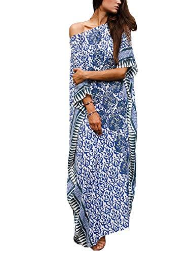 Orshoy Damen Strandkleider Türkischer Stil Boho Strandponcho Lose Maxi Kimono Kaftan Tunika Lange Sommerkleider Oversize Sommer Maxikleid Kleid Urlaub Blau Print One Size