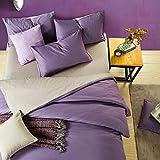 yaonuli Einfaches einfarbiges Bettwäscheset aus Vier Bettwäschesets aus Baumwolle, geräuchert, blau, 1,8 Betten, Vier Sätze Bettbezug 2,0 * 2,3