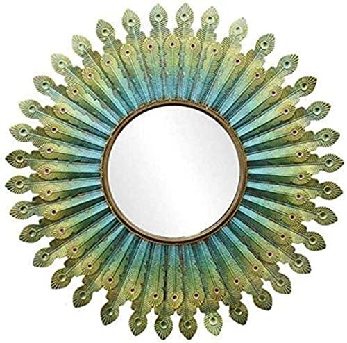 EWR Espejo de maquillaje de hierro forjado de plumas de pavo real espejo colgante de pared para cuarto de baño sala pasillo dormitorio espejo decorativo 80 cm