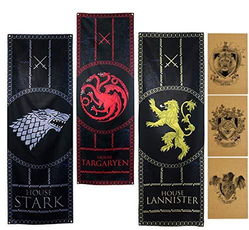 ZCWOLTM Regalos de cumpleaños para la Hija, [189X62CM] Stark Targaryen Lannister, Juego de Tronos Banderas para Decoración de Fiesta
