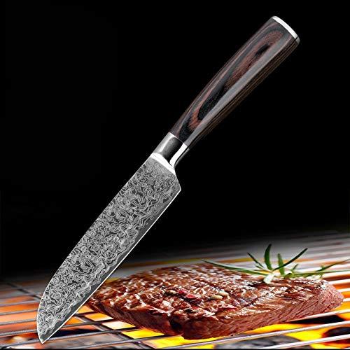 Cuchillos cocina Cuchillo de cocina de acero inoxidable Damasco patrón chef cuchillo conjunto carne cuchilla peeling santoku slice herramienta de utilidad (Color : 5 in santoku knife)