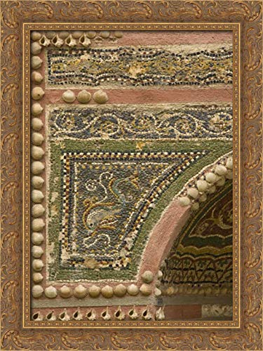 Kaveney, Wendy 28x40 Gold Ornate Framed Canvas Art Print Titled: Italy, Pompeii Mosaic with Inlaid Shells