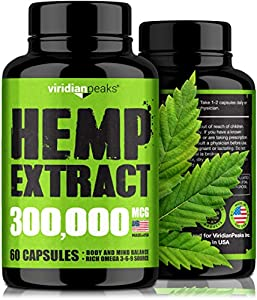 Hemp Extract Capsules 300,000 - Supplement for Anxiety & Stress Relief - 100% Grown & Made in USA - Immune Support - Omega 3-6-9 Source - Insomnia Relief & Mood Boost